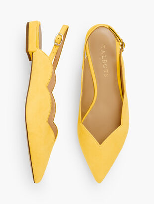 Ava Pointed Toe Slingbacks - Suede