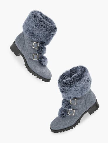 Tish Buckle Faux Fur Trim Flannel Ankle Boots