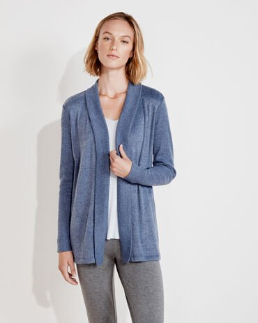 Marled Knit Open Front Cardigan