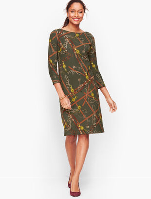 Cotton Equestrian Print Shift Dress