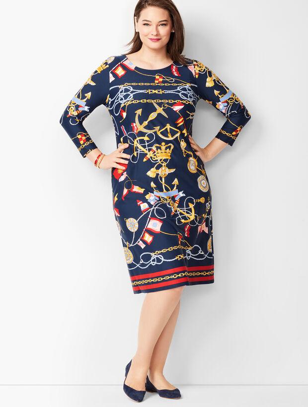 24d3f130b4 Images. Nautical-Print Jewel-Neck Shift Dress