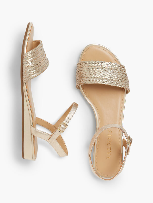 Daisy Micro-Wedge Sandals - Braided Metallic