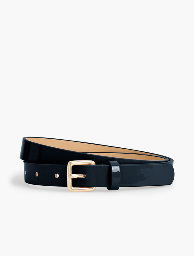Plus Size Patent Leather Square-Buckle Belt