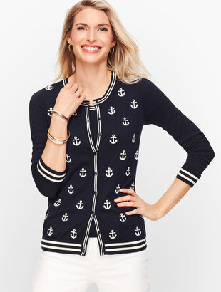Charming Cardigan - Embroidered Anchors