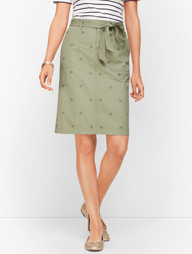 Embroidered Daisy A-Line Skirt- Twill