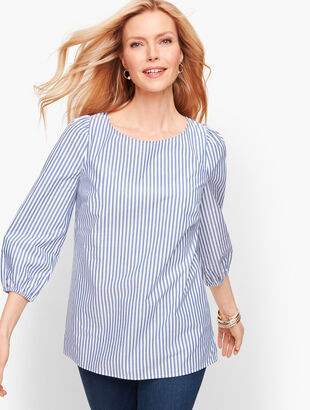 Stripe Gathered Sleeve Top
