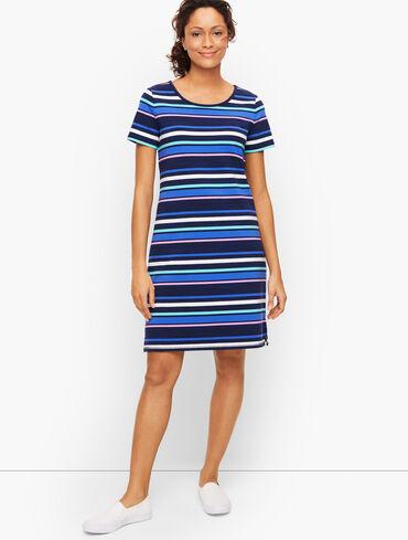 Ruched Drawstring Back T-Shirt Dress - Stripe
