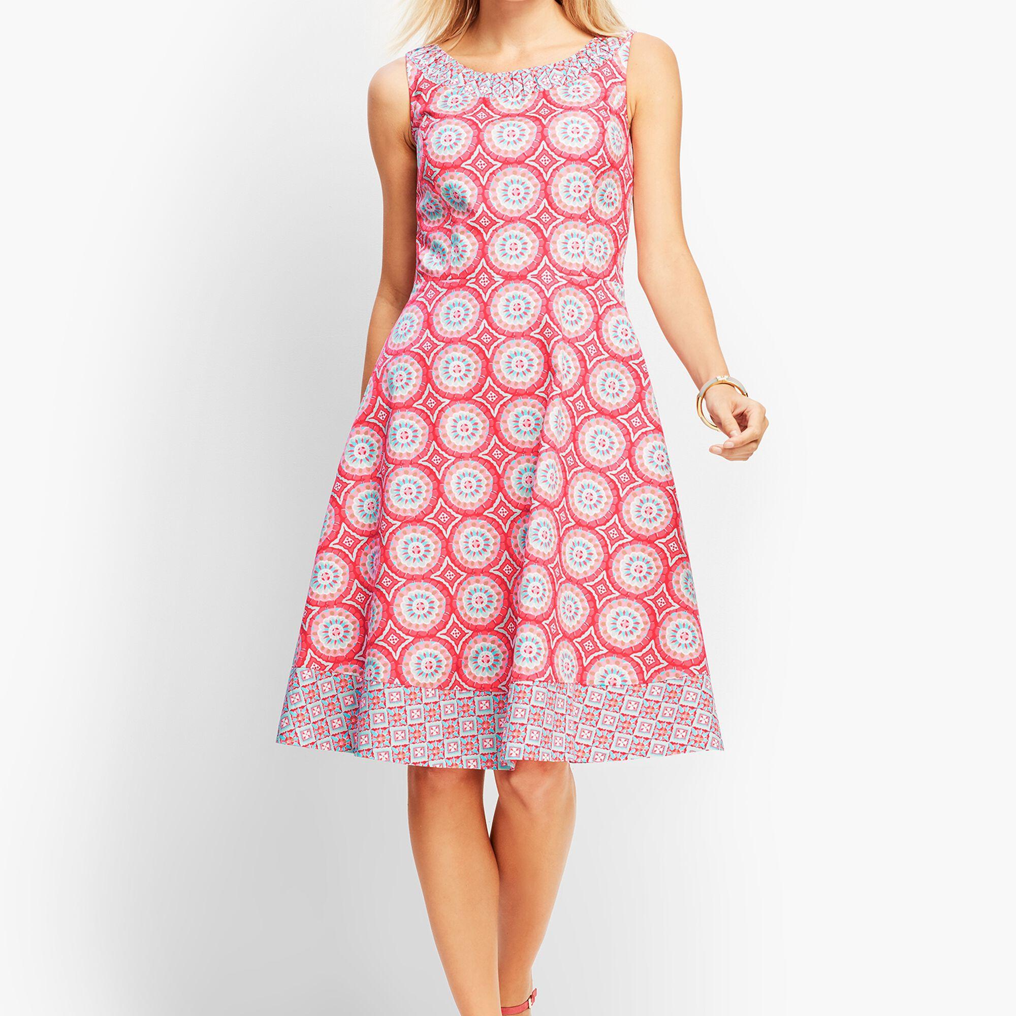 9f7806770d Mixed Geo-Print Fit-and-Flare Dress | Talbots