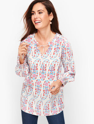Tie Neck Smocked Top - Dotted Paisley