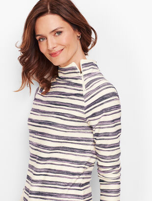 Brushed Stripe Terry Pullover