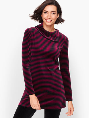 Luxe Velour Button Back Top - Stripe