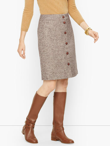 Wool Donegal A-Line Skirt