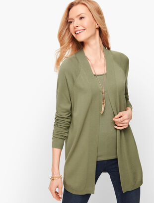 Curved Hem Open Sweater