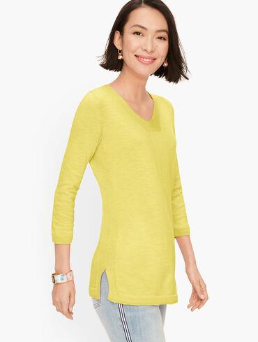 Slub Cotton V-Neck Sweater - Solid