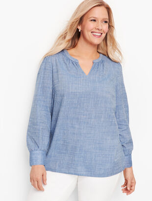 Poet Sleeve Cotton Popover - Chambray Dot