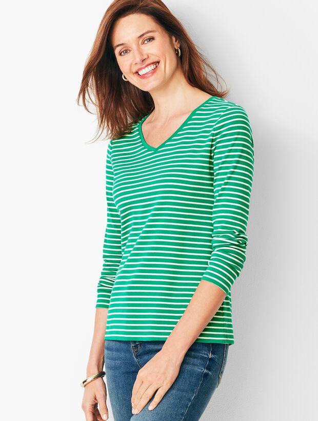 Long-Sleeve Cotton V-Neck - Stripe