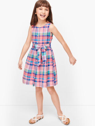 Girls Madras Tie Waist Dress