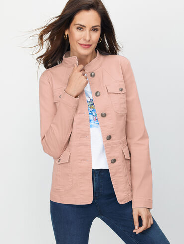Band Collar Jean Jacket - Colors