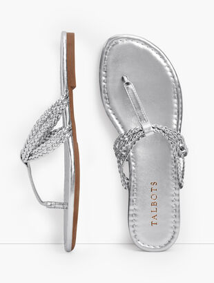 Cece Braided Flip Flops - Metallic