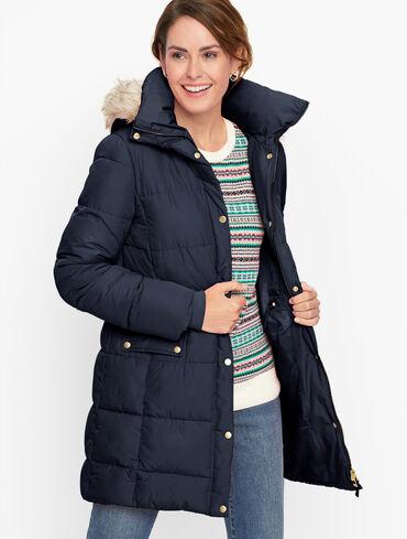 Faux Fur Hooded Down Alternative Puffer Coat