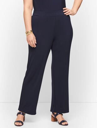 Plus Size Knit Jersey Straight Leg Pants