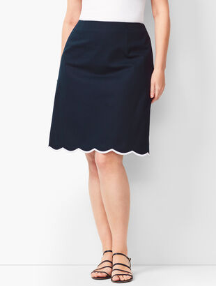 Embroidered Canvas A-Line Skirt