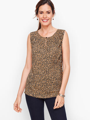 Smock Neck Shell - Tiny Leopard