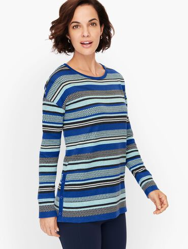 Mixed Stripe Button Detail Pullover