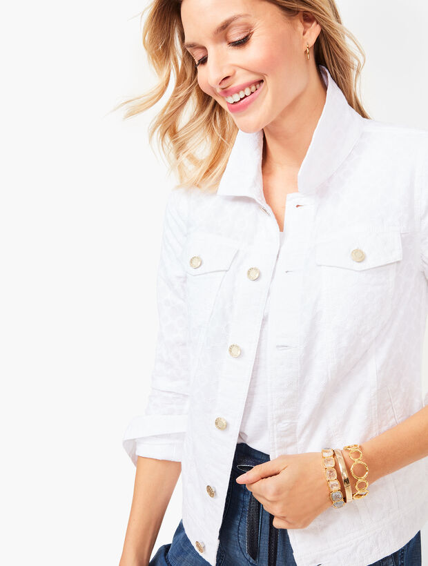 Embroidered Eyelet Jean Jacket
