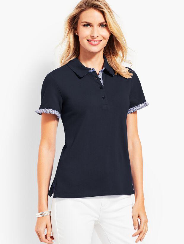 Gingham Ruffle Sleeve Polo