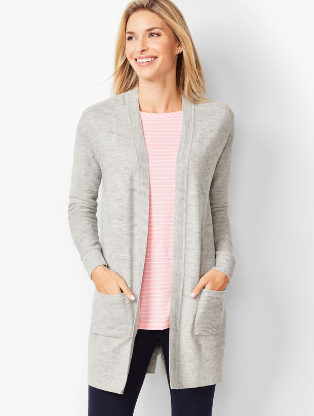 Space-Dyed Open-Front Cardigan
