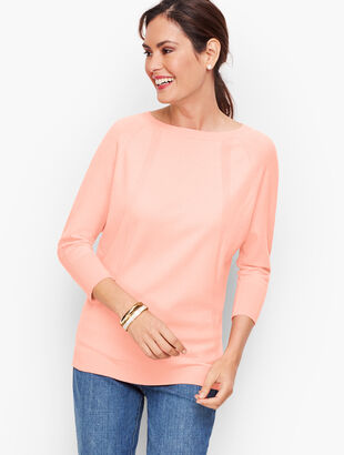 Pointelle Detail Dolman Sleeve Sweater