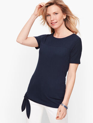 Side Tie Ribbed Top