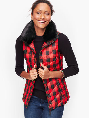 Down Faux Fur Collar Puffer Vest - Buffalo Plaid