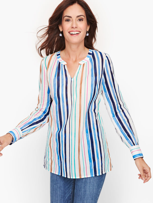 Poet Sleeve Cotton Popover - Watercolor Stripe