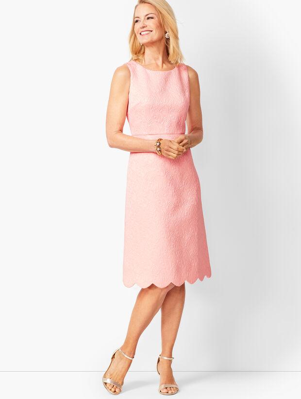 Floral Matelassé Scalloped-Hem Dress