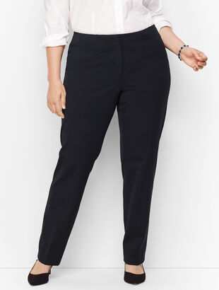 Plus Size Refined Bi-Stretch Tailored Straight-Leg Pants
