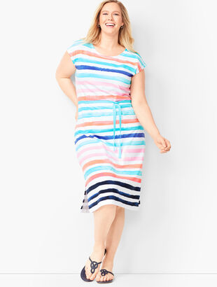 Painterly-Stripe Midi Dress