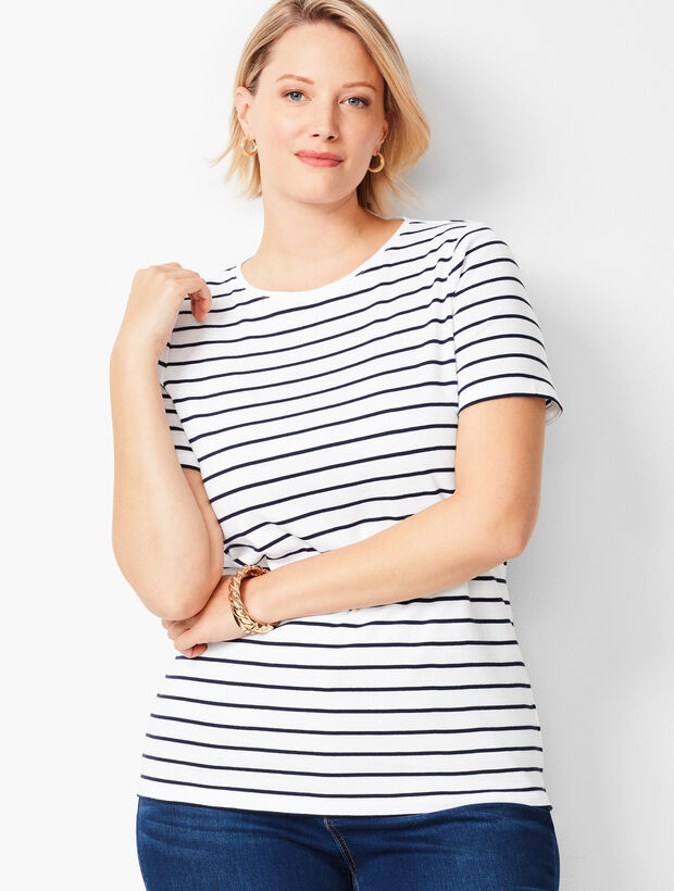 Cotton Crewneck Tee - Bi-Color Stripe