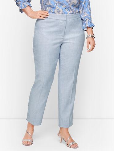 Plus Size Exclusive Lightweight Tweed Slim Ankle Pants