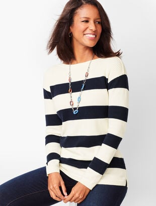 Ribbed-Yoke Sweater - Stripe