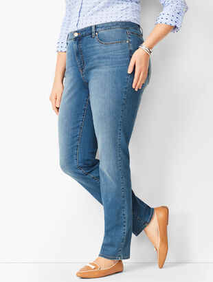 High-Waist Straight-Leg Jeans - Aurora Wash