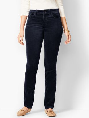 High-Rise Straight-Leg Velveteen Pant - Solid - Curvy