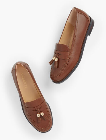 Laura Tasseled Burnished Calf Leather Loafers