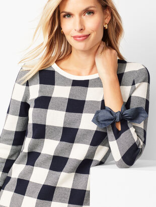 Buffalo-Check Tie-Sleeve Sweater