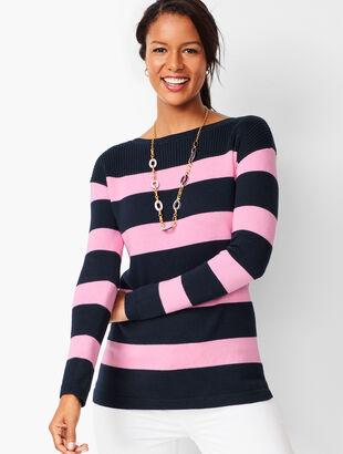 Ribbed-Yoke Sweater - Stripe
