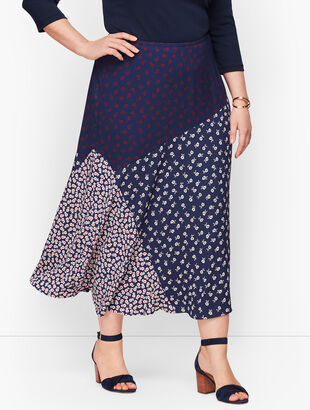 Pieced Floral Midi Skirt