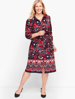 Picnic Paisley Poplin Shirtdress