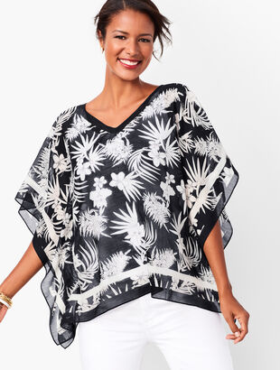 Botanical V-Neck Poncho