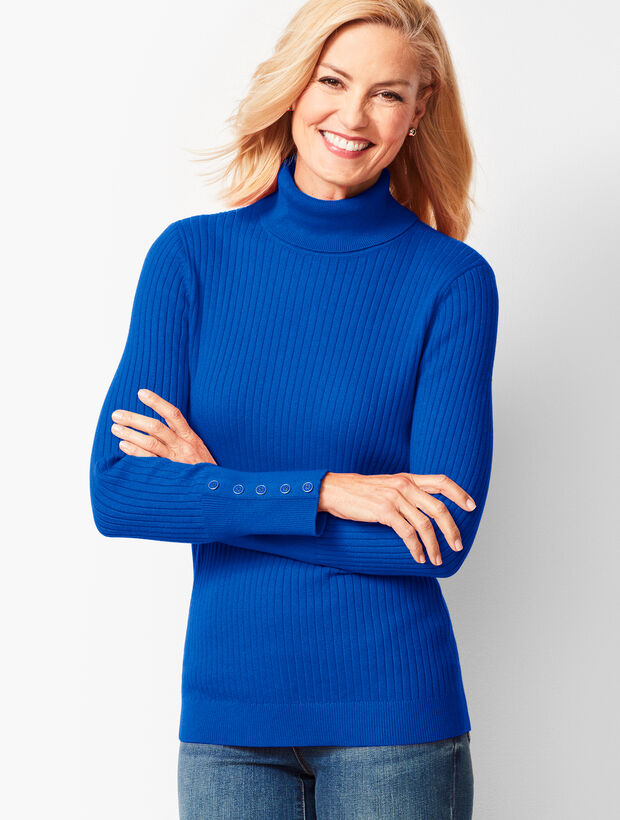 Button-Cuff Ribbed Turtleneck Sweater - Solid